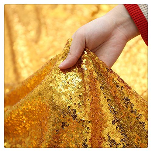 PartyDelight 1 Yard Sequin Fabric Shimmer Mesh Glitz Fabric by The Yard for Dress Clothing Making Home Decor Gold
