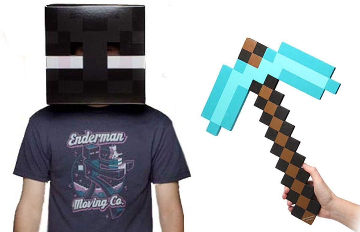 Minecraft Enderman Head & Diamond Pickaxe Costume Set