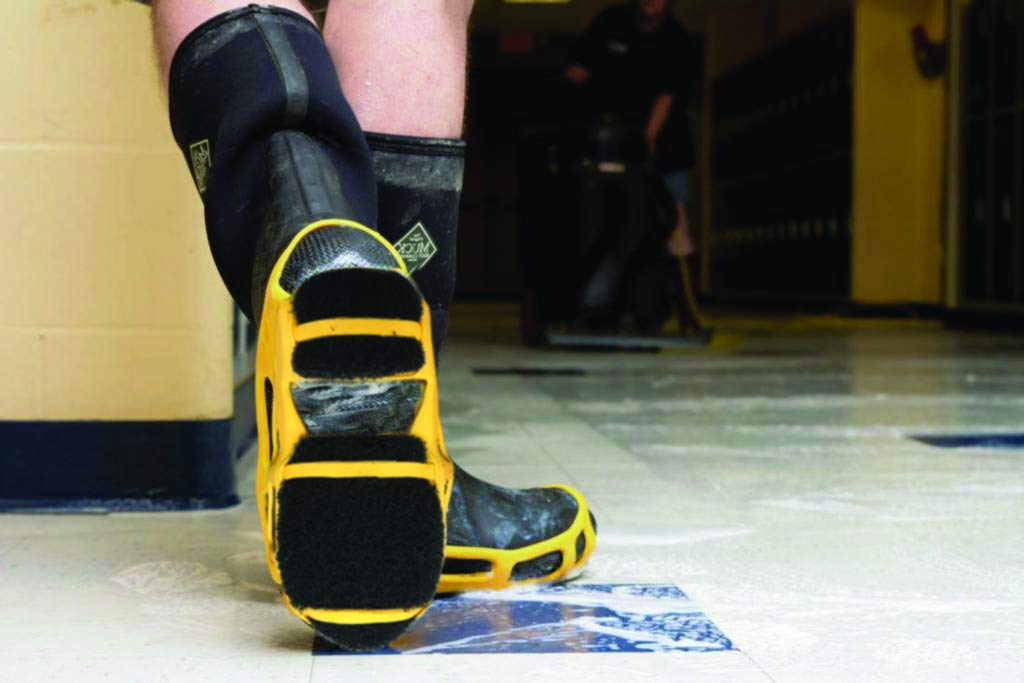 STABIL StripGrips Non-Slip, Flexible, Lightweight, Traction Solution for Stripping Floors, Attaches Easily over Shoes For Anti-Slip Safety, Small (4-6 Men / 5-8 Women), Yellow/Black