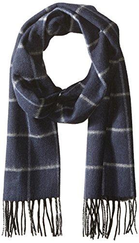 Phenix Cashmere Men's Herringbone Windowpane Stripe Scarf, blue, One Size - Herringbone Stripe Scarf