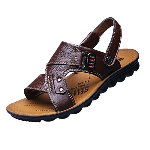 Stifai Faux Leather Vintage Outdoor Skidproof Sandals for Men Brown npsCbr