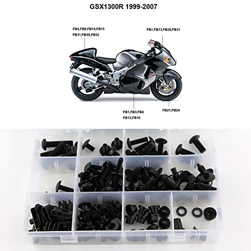 Xitomer Full Sets Fairing Bolts Kits, for Suzuki GSX1300R HAYABUSA 1999-2007, Mounting Kits Washers/Nuts/Fastenings/Clips/Grommets (Matte Black)