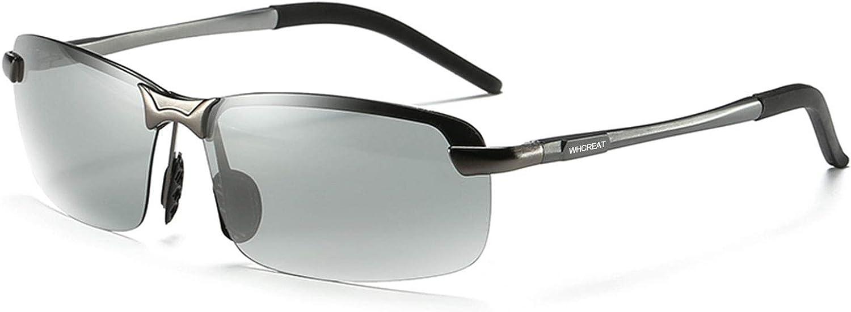 WHCREAT Hombre Que Conducen Gafas De Sol Polarizadas Fotocromáticas Ciclismo Al Aire Libre con Bastidor AL-MG Ultraligero