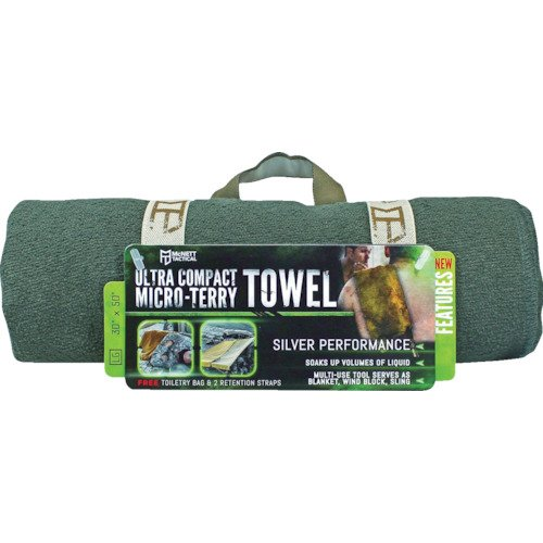 McNett Tactical Ultra-Compact Microfiber Terry Cloth Towel, OD Green, Large, 30