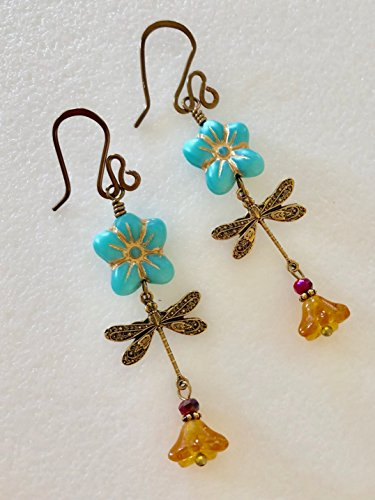 Turquoise Blue Flower Earrings, Dragonfly Earrings, Topaz Flowers, Czech Glass Flowers, Boho Flower Earrings, Antique Bronze. ()
