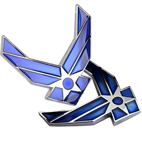 2-Pack Metal US Air Force Emblem 3D Blue Wings Auto Badge USAF ()
