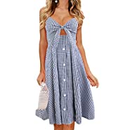 W-Fight Women Summer Spaghetti Strap Midi Long Swing Dress Bohe Floral Plaid High WaistBeach Sundress