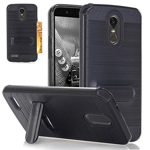 Voberry Hybrid Hard Soft Rubber Impact Armor Card Kickstand Case Cover For LG Stylo 3 Plus (Black)