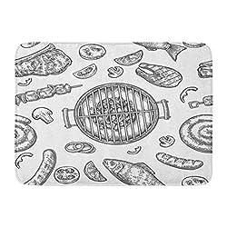 Koperororo Doormats Bath Rugs Outdoor Indoor Door Mat Barbecue Grill Top View Charcoal Mushroom Tomato Pepper Sausage Lemon Kebab Fish And Beef Steak Vintage Bathroom Decor Rug 16 X 24