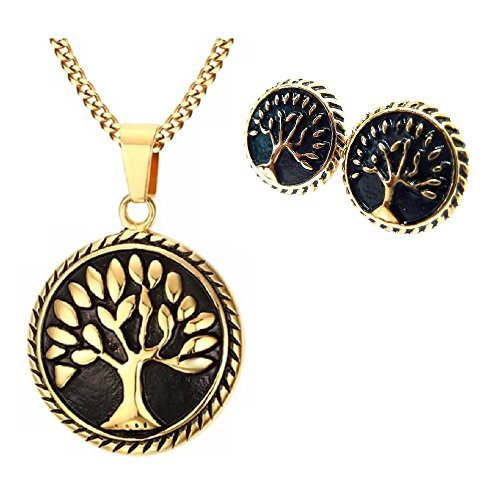 BellaMira Tree of Life 18K Gold Plated Necklace & Earrings Set (18k Motif Necklace)