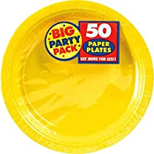 Amscan Big Party Pack Paper Dinner Plates 9-Inch, 50/Pkg, Sunshine Yellow