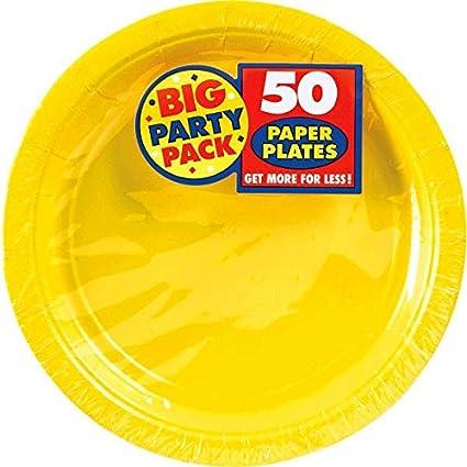 Big Party Pack Paper Dinner Plates 9-Inch 50/Pkg Sunshine Yellow  sc 1 st  Amazon.com & Amazon.com: Big Party Pack Paper Dinner Plates 9-Inch 50/Pkg ...