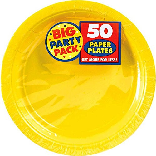 Big Party Pack Paper Dinner Plates 9 Inch  50 Pkg  Sunshine Yellow