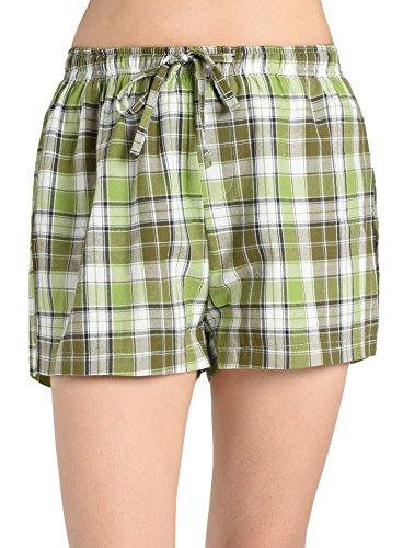 Latuza Women's Plaid Sleep Shorts 2X Yellowgreen