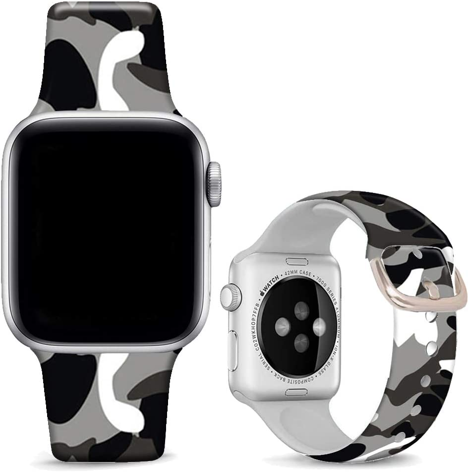 DOO UC Floral Bands Compatible with iWatch 38mm/42mm/40mm/44mm, Camouflage Black Silicone Fadeless Pattern Printed Replacement Bands for iWatch Series 4/3/2/1, M/L for Women/Men