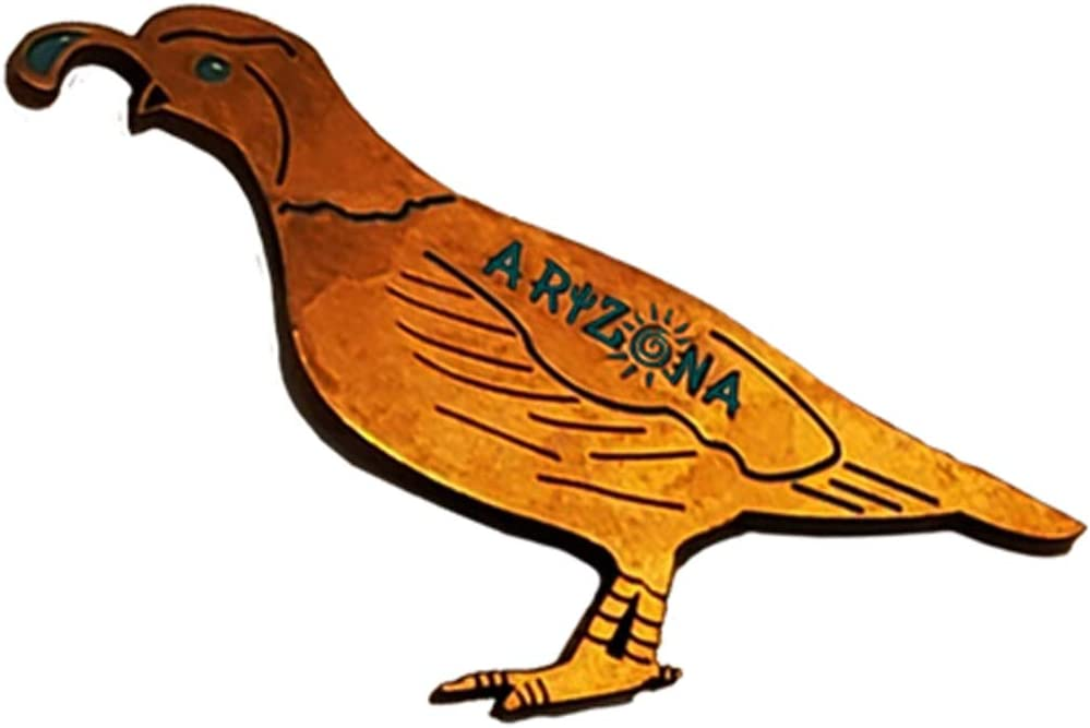 Quail Magnet (Bronze) Decorative Metal Refrigerator Magnet Southwest Gift Idea - Arizona Souvenir