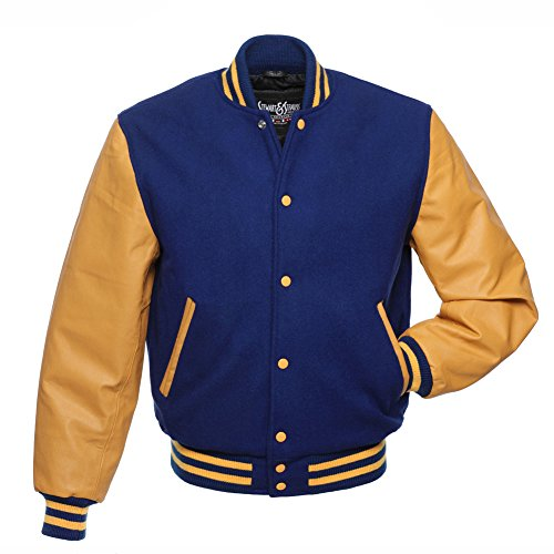 C135-S Royal Blue Wool Gold Leather Varsity Jacket Letterman (Blue Wool Varsity Jacket)