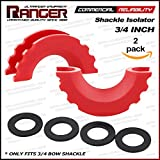 Ranger 3/4 Shackle Isolator with Washers D Ring Shackle Cover for Jeep SUV Pickup Truck Offroad Recovery by Ultranger (Pack of 2)
