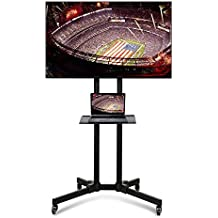 Yaheetech 32 to 65 Inch Universal Flat Screen TV Carts Stand Mobile TV Console Stand with Mount for LED LCD Plasma Flat Panels on Wheels