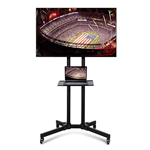 Yaheetech 32 to 65 Inch Universal Flat Screen TV Carts Stand Mobile TV Console Stand with Mount for LED LCD Plasma Flat Panels on Wheels (Corner Tv 65 Cabinet Inch For Tv)