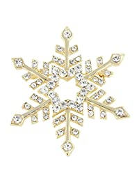 Ever Faith Austrian Crystal Star Winter Snowflake Brooch Pin Clear