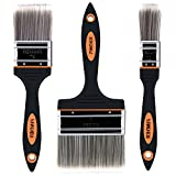 Finder 3 Pack Professional Paint Brushes Clean Brushes For Wall Deck Fences Frniture Door Home Decor TPR Handle And Thick Quality PET Filaments