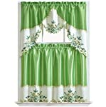 ARCH FLORAL Kitchen Curtain Set/ Swag valance & tier set. Nice matching color floral embroidery on border with cutworks