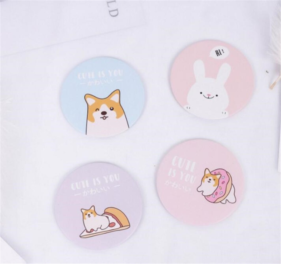 Yingealy Childrens Mirror Mini Round Cartoon Shiba Pattern Small Glass Mirrors Circles for Crafts Decoration Cosmetic Accessory