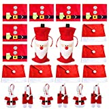 Christmas Dinner Table Party Decorations Kit (with 6xSanta Claus Red Hat Chair Back Cover + 6xPlacemats + 6xSilverware Holder Pockets + 2xWine Bottle Bags), Family Xmas Party Decor Gift (Set 1)