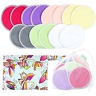 Organic Bamboo Nursing Pads (14 Pack)+Laundry Bag & Travel Bag,2 Sizes:3.9/4.7inch Option - Washable & Reusable Nursing Pads(Large,Daytime Use)