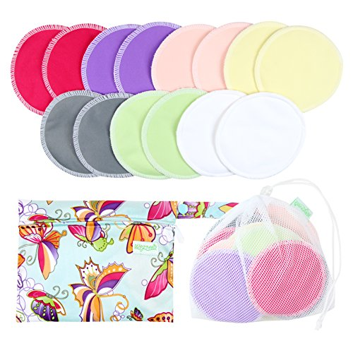 Organic Bamboo Nursing Pads (14 Pack)+Laundry Bag & Travel Bag,2 Sizes:3.9/4.7inch Option - Washable & Reusable Nursing Pads(Large,Daytime Use)