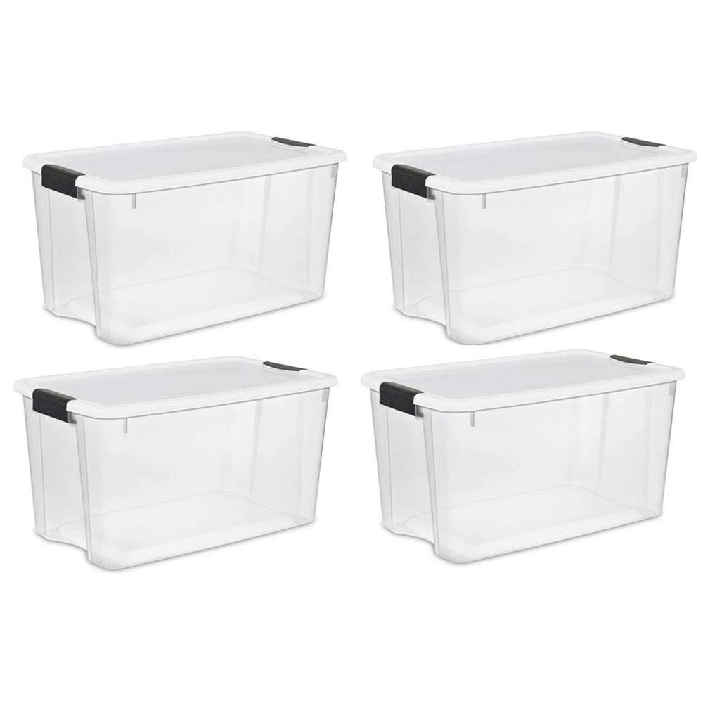 STERILITE 70-Quart Clear Storage Container Box Tote (4 Pack) by STERILITE