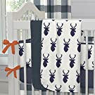 Carousel Designs Navy Deer Woodland Crib Blanket