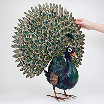 Bits and Pieces - Elegant Peacock Metal Garden Sculpture - Indoor and Outdoor Décor