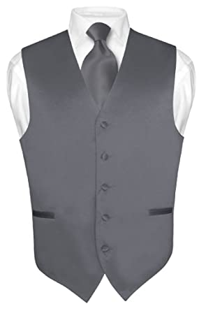 Men's Dress Vest & NeckTie Solid CHARCOAL GREY Color Neck Tie Set ...