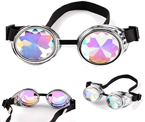 0a6ebe2296b OMG shop Kaleidoscope Steampunk Rave Glasses Goggles Rainbow Prism Lens