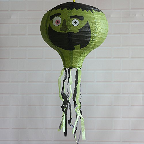 40CM Colorful Foldable Paper SOUFUN Hot Air Balloon Lanterns With Many Patterns (Green 1)