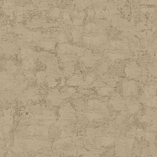 - York Wallcoverings Welcome Home Plaster Texture Removable Wallpaper, Mud Brown