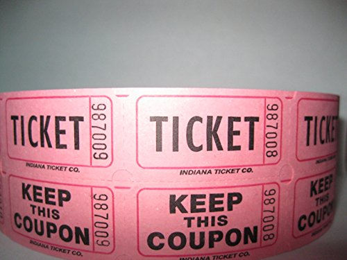 Pink Raffle Tickets - Indiana Ticket Company Raffle Tickets 2000 Per Roll, Pink
