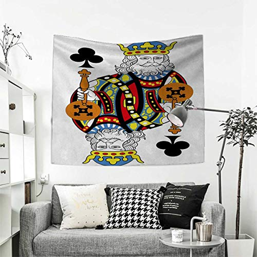 RuppertTextile King Wall Hanging Tapestries King of Clubs Playing Gambling Poker Card Game Leisure Theme Without Frame Artwork Home Decorations for Living Room Bedroom 63W x 63L Inch - Poker Walking Dead Set