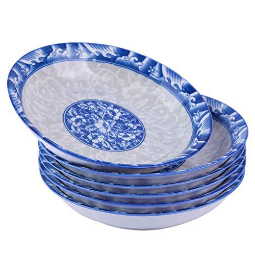 Cutiset 8 Inch Porcelain Fruits/Salads/Soup Serving Bowls, Set of 6, Assorted Blue and White Patterns, Chinese Style, Shallow & Wide (8-inch, Blue&White)