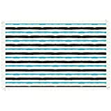 """iPrint 55""""x120"""" Rectangle Polyester Linen Tablecloth,Abstract,Paintbrush Large Color Bands Simplistic Horizontal Lines Stripes Artistic,Aqua Black White,for Dinner Kitchen Home Decor"""