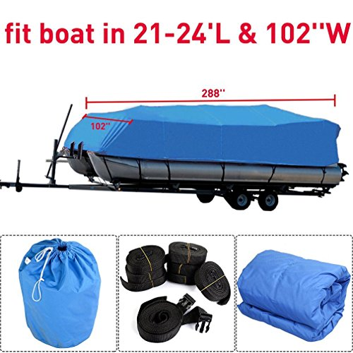 Comcastle 600D Oxford Waterproof Heavy Duty Fabric Trailerable Pontoon Boat Cover Storage Tool Accessories-Marine Grade Polyester Canvas Fits for 21-24 ft Length Boats