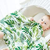Anbenser Allergy-Free Baby Blanket Lightweight Toddler Blanket for Boys Girls 47 X 47 inch Soft Breathable Cotton(Leaf)