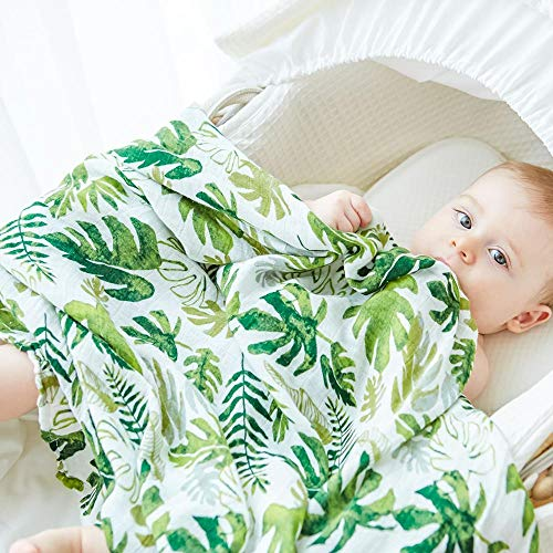 (Anbenser Allergy-Free Baby Blanket Lightweight Toddler Blanket for Boys Girls 47 X 47 inch Soft Breathable Cotton(Leaf))
