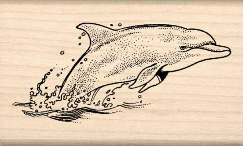 Dolphin Rubber Stamp - 1-1/2 inches x 2-1/2 inches