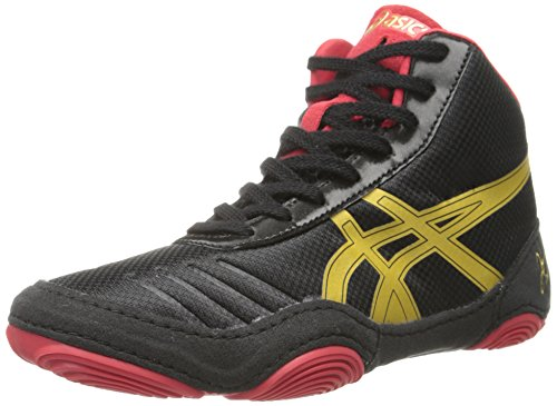 Price comparison product image ASICS JB Elite V2.0 GS Wrestling Shoe (Little Kid/Big Kid), Black/Olympic Gold/Red, 2 M US Little Kid