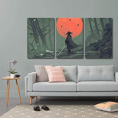 3 Piece Canvas Wall Art - Illustration - Samurai Standing on Stairway in Night Forest - Modern Home Art Stretched and Framed Ready to Hang - 16