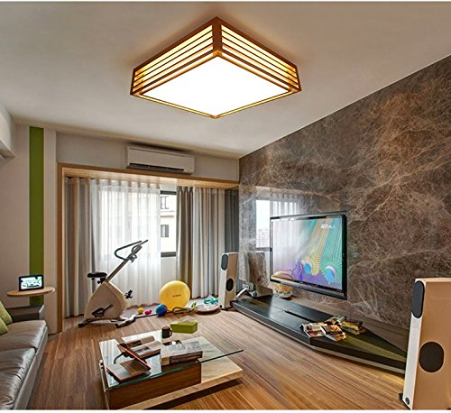 Square ceiling, creative Japanese-style lamps, bedroom lights, living room, dining room, wooden ceiling LED ( Size : 35x12cm )