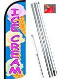 Vista Flags ICE Cream (Blue/Pink) Windless Feather Banner Flag Kit (Flag, Pole, Ground Mt)